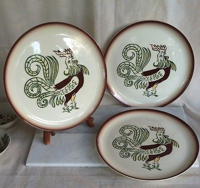 Brock Pottery Set Of 3 Large Rooster Plates, 11 Inches, that's Big!