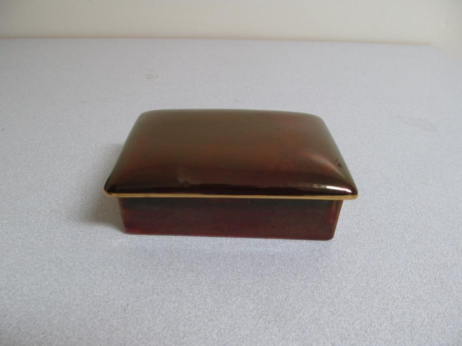 Carlton Ware Maroon Gold Candy Box Lid Rouge Royale England