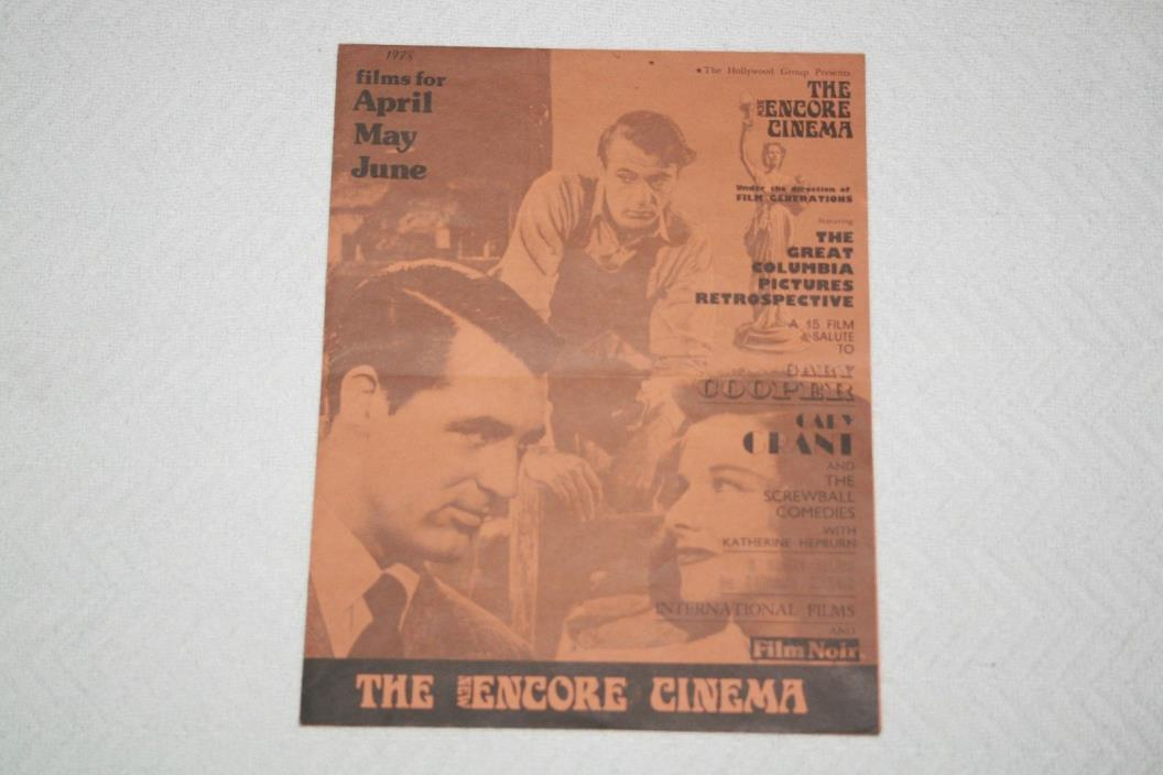 The New ENCORE CINEMA Theater 1978 Film Schedule * Gary Cooper * Cary Grant