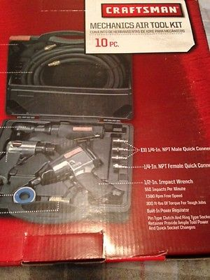 Air Tool Kit Craftsman 10 Pc Impact Wrench Ratchet Set