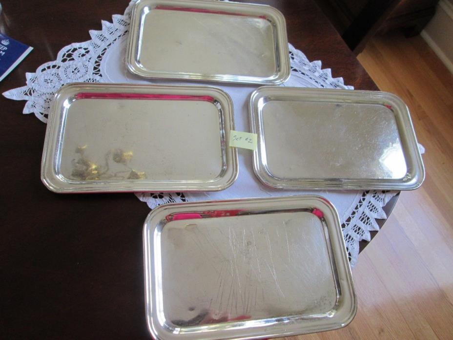 #2 Vintage Set 4 Hotel Silver Soldered Individual Tip Trays for Hotel Teapots