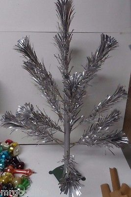 1960's Star Band POM POM 2 Foot Silver Aluminum Xmas Tree - Complete in Orig Box