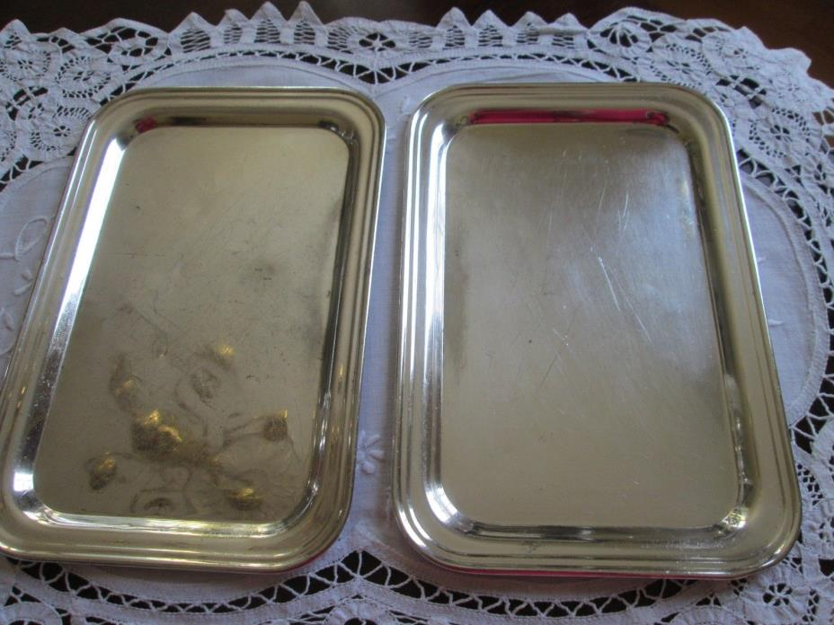 Vintage Set 2 Hotel Silver Soldered Individual Tip Trays for Hotel Teapots