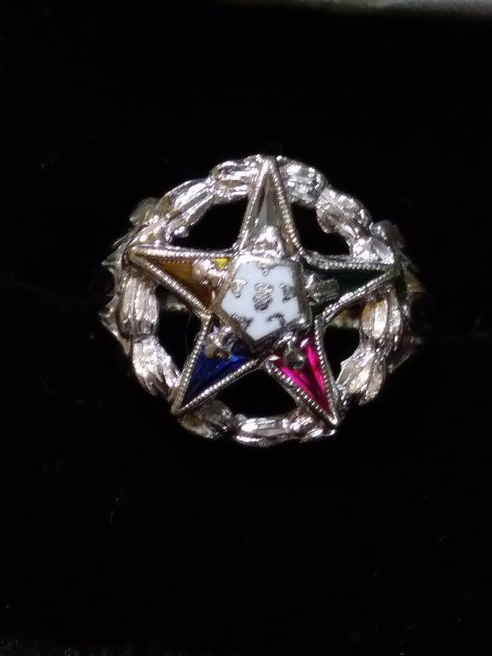 Vintage 10K White Gold Masonic Eastern Star Gemstone Ring size 3.5