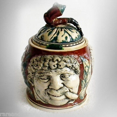 Majolica vintage art pottery humidor with faces and lid - FREE SHIPPING