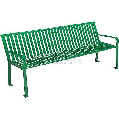 6' Steel Slat Park Bench