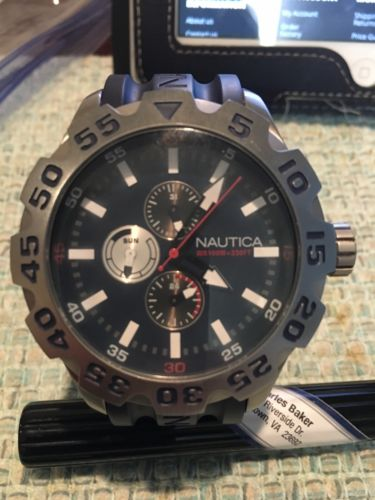 NAUTICA Black Resin Stainless Steel Chronograph Dial Watch N15578G used Men's.