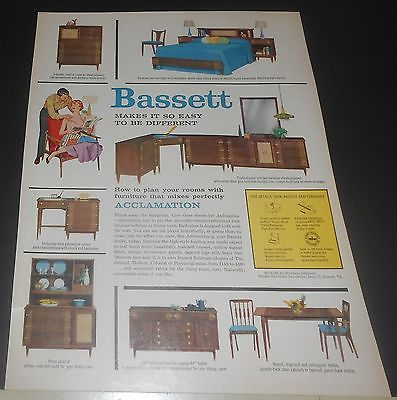 1958 BASSETT FURNITURE VINTAGE PRINT AD ~ ACCLAMATION