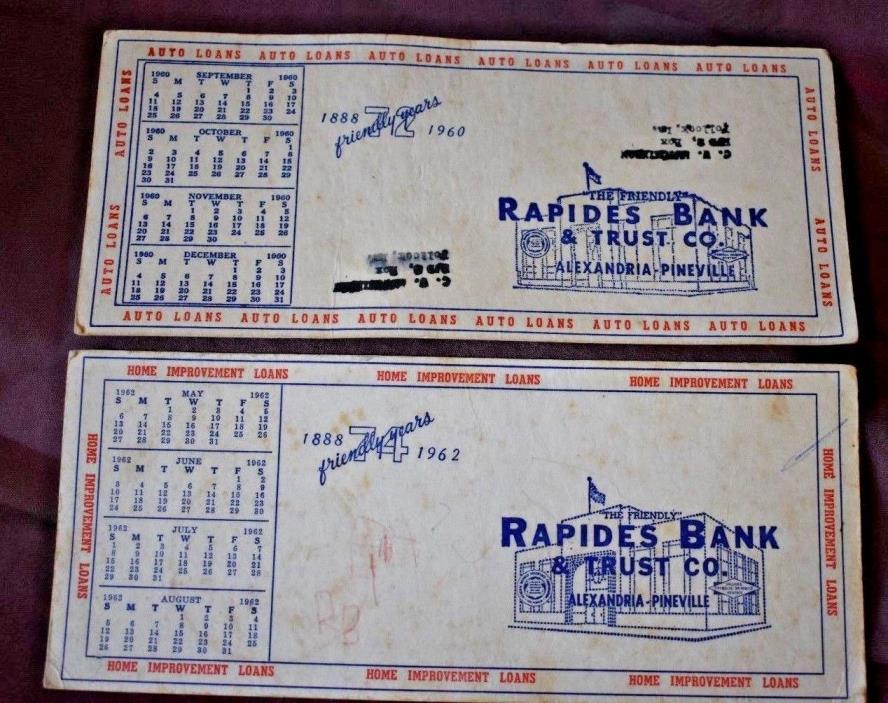 Vintage 1960 & 1962 Cardboard CALENDARS Rapides Bank & Trust Alexandria LA