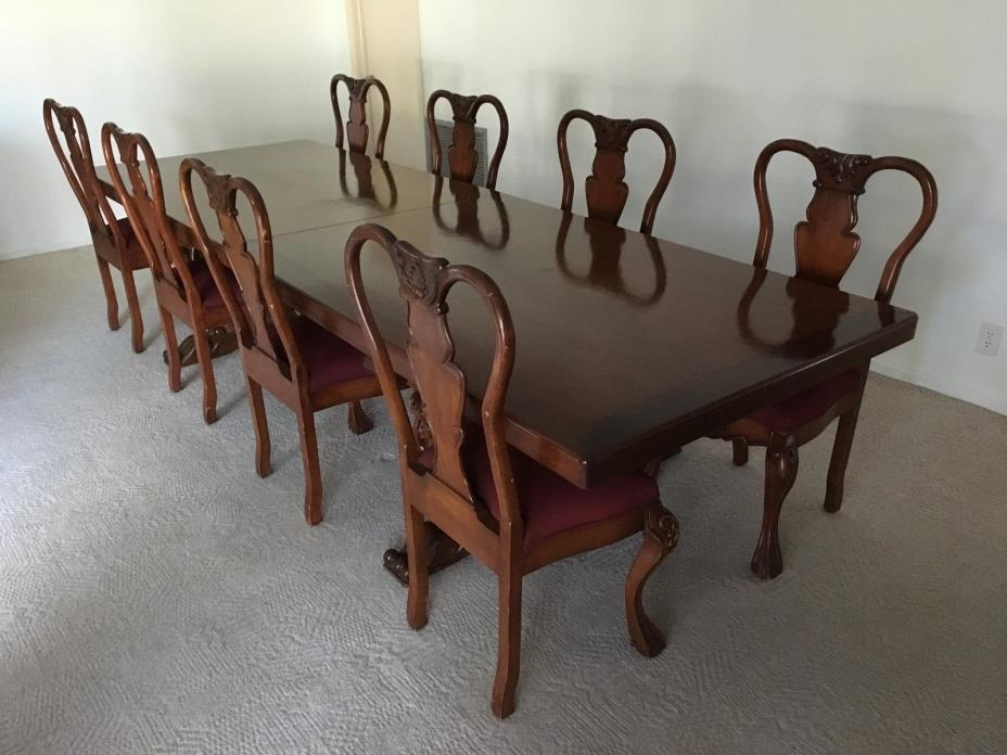 Antique Regency Style 12', 14' or 16' Mahogany Dining Table and Chairs Set