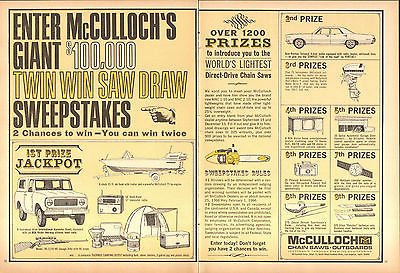 1965 2 Page Print Ad of McCulloch Chain Saw Sweepstakes IH Scout Pontiac Tempest