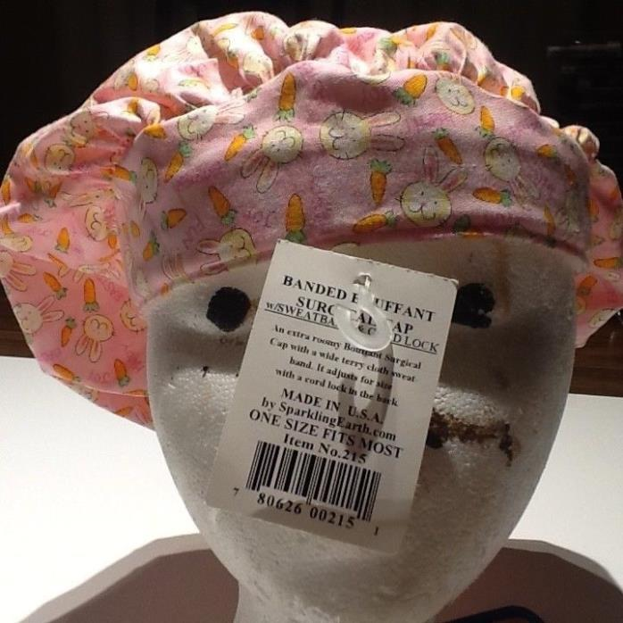 Sparkling Earth BANDED BOUFFANT Surgical Cap w/ Sweatband & Cord Lock EASTER