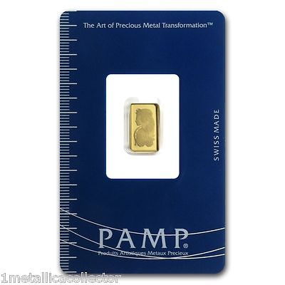 1 gram PAMP Suisse Lady Fortuna 999.9 Gold Bar Sealed with Assay Cert.  INGOT