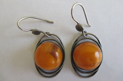 Antique Vtg USSR 875 Silver Natural Butterscotch Egg Yolk Baltic Amber Earrings