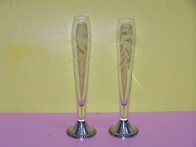 Vintage 2 Duchin Creation Crystal & Sterling Base Champagne Flute Bud Vase VGC