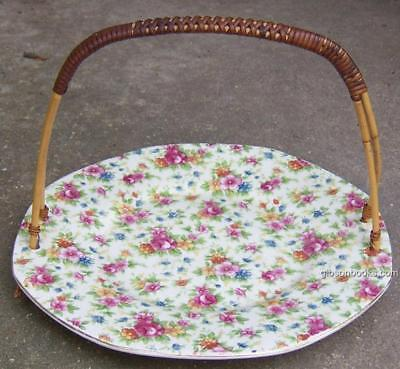 Vintage Japanese Chintz Serving Plate with Bamboo Handle