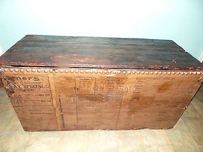 Antique Rustic Primitive  Wood Trunk  Advertisement Ohio Nail Head