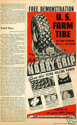 1937 U.S. Farm Tire Tractor Vintage Print Ad United States Rubber Co.