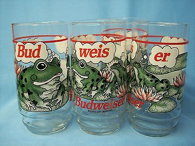 FOUR VINTAGE BUDWEISER GLASS FROG (BUD-WEIS-ER) DRINKING GLASSES - 1995