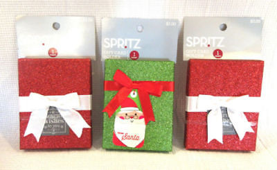 Lot of 3 Spritz Gift Card Holder Red Green Glitter Holiday Christmas
