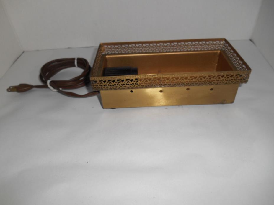 Vintage Electrical Lighted Brass Box for Glass Brick TV Vase