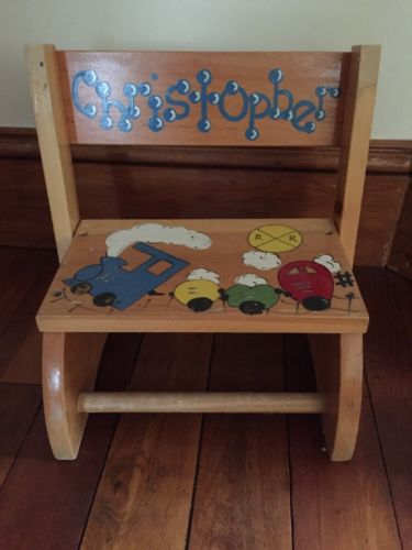 Hand painted Wooden Child Step Stool Preschool Christopher Trains