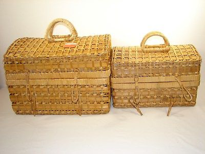 Set of 2 Domed Top Wicker Decorator/Storage Trunks ~ New