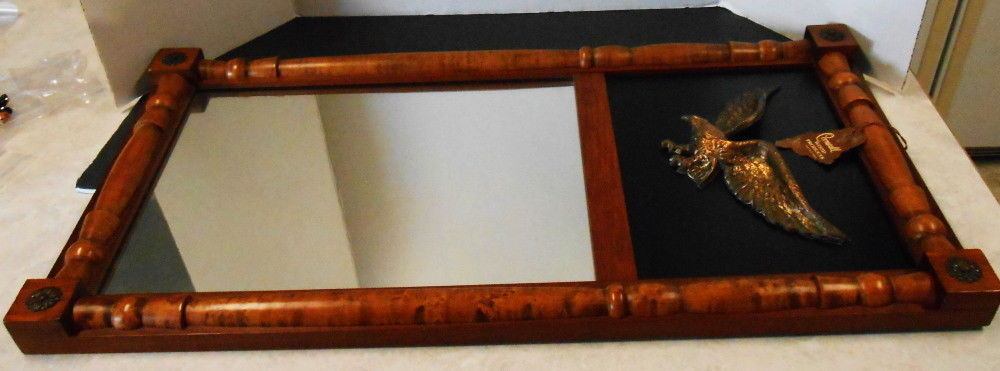 VTG MIRROR WITH BRASS EAGLE WOOD FRAM BY CORNWALL WOOD PRODUCTS SOUTH PARIS MAIN
