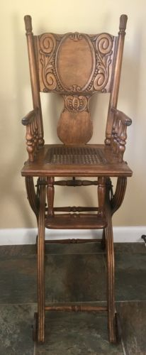 ANTIQUE 1860's FOLD UP DOWN CHILDS HIGH CHAIR STROLLER OAK CARVED FINE FURNITURE