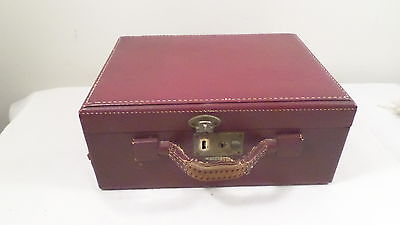 Vintage Shortrip Red Hard Train Case Cosmetic Case Luggage 12x9x5