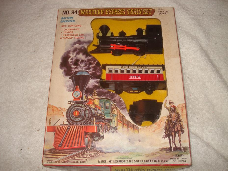 VINTAGE 1960s WESTERN EXPRESS BATTERY OPERATED TRAIN SET JAPAN
