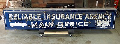 Large Porcelain Enameled Neon Reliable Insurance Agency Sign Auto Fire Blue
