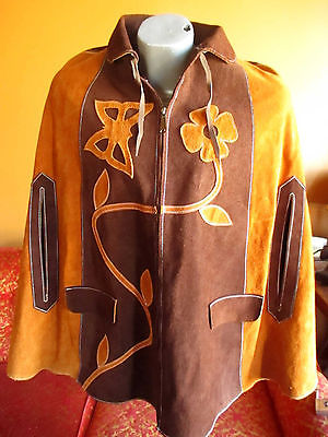 Small True Vtg 1960s 70s Mexican Suede Butterfly Zipper Brown Suede Cape jacket