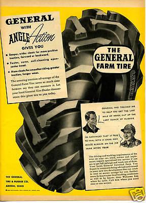 1950 General Farm Tractor Truck Tire 2 Different Lot Print Ad
