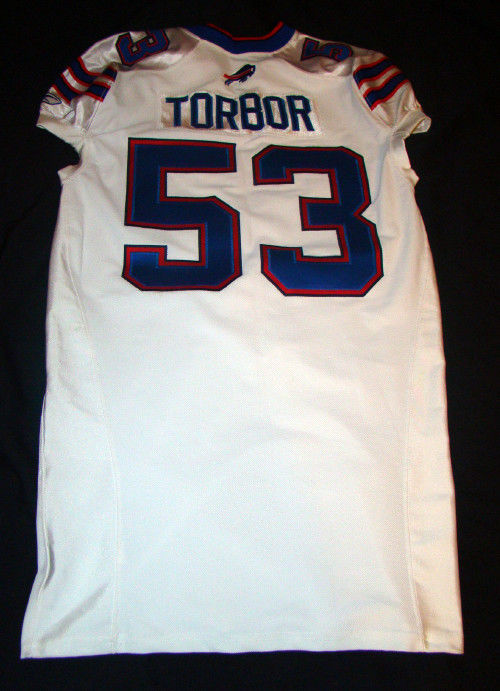 REGGIE TORBOR 53 BUFFALO BILLS GAME USED 2011 REEBOK NFL FOOTBALL JERSEY SIZE 48