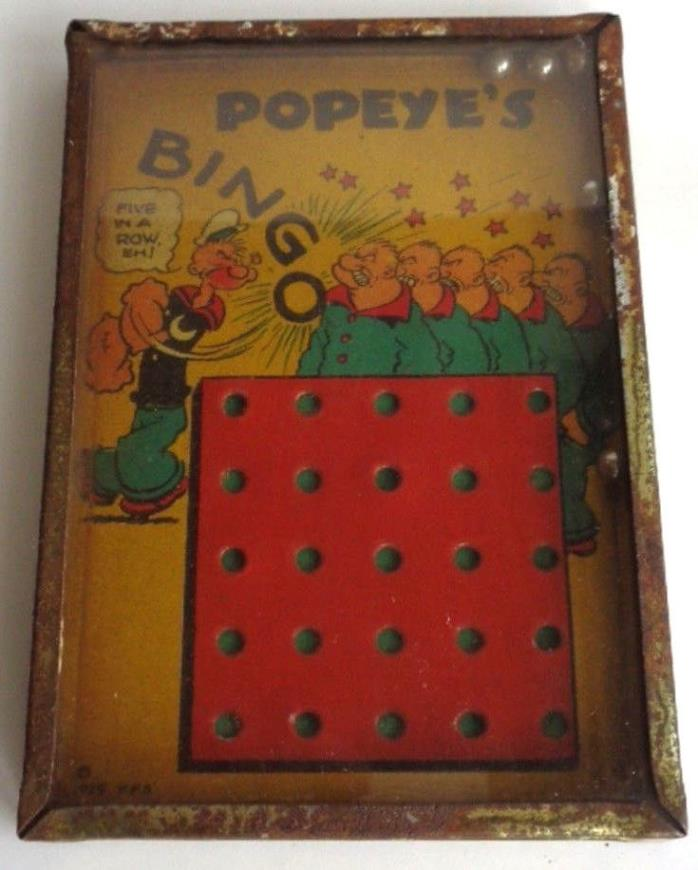 Antique 1929 Popeye's Bingo Game King Feature Syndicate Bar Zim Toy Mfg. Co