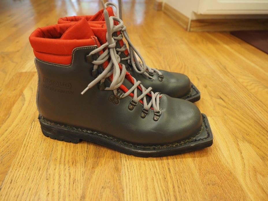 Asolo Backcountry Gray Leather 3-Pin 75mm Nordic Norm Telemark Boots 8.5 Mens