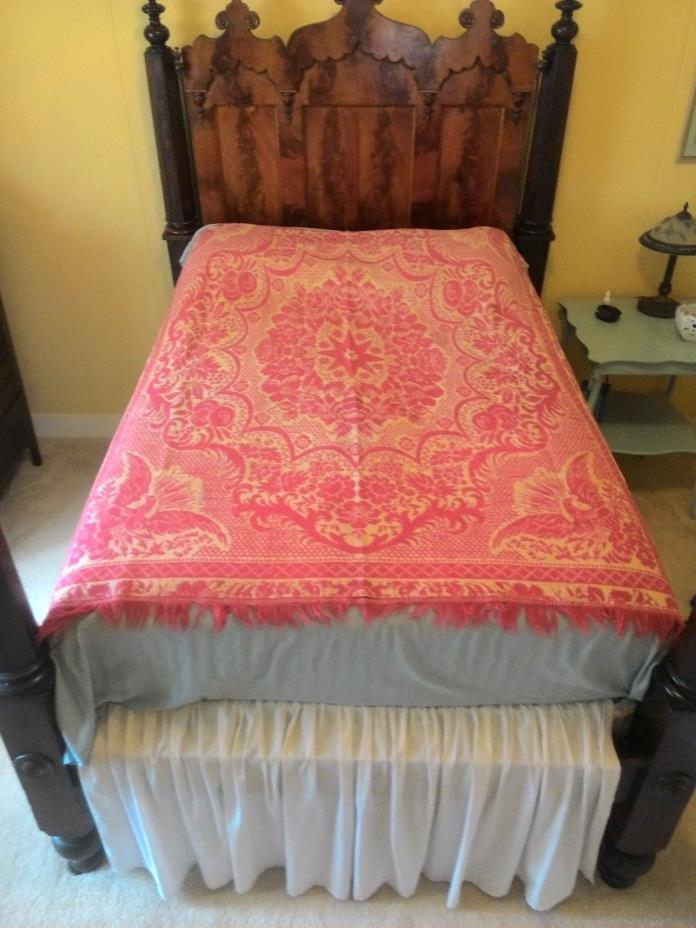 19th Century Jacquard overshot wool coverlet, Eagle and Floral, 72x76