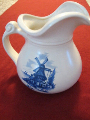 McCoy 7515 Windmill Pottery Pitcher Blue & White 7