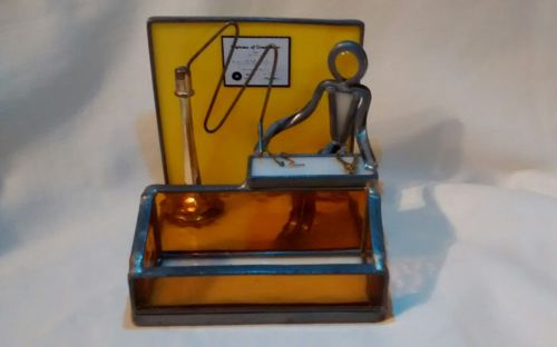 METAL STAINED GLASS DENTIST DENTAL OFFICE UNIQUE FIGURINE Business Card holder