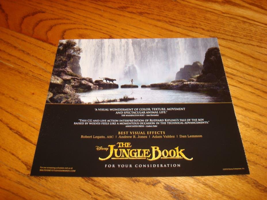 THE JUNGLE BOOK 2016 Oscar ad Disney, for Best Visual Effects, Rudyard Kipling