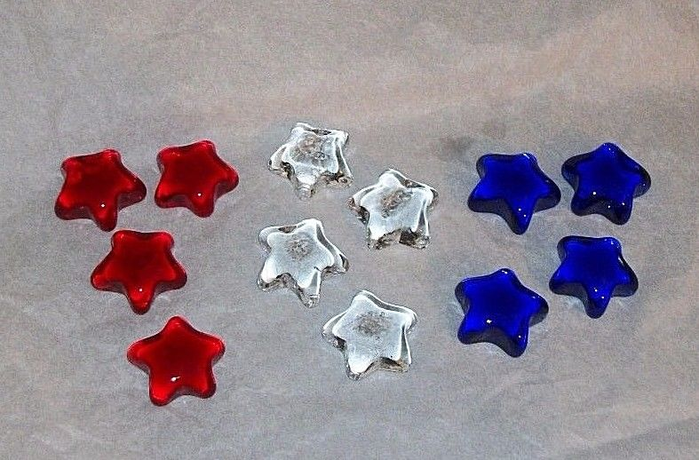 Set Of 12 Solid Glass Stars Red White Blue Patriotic Americana Decor Crafts NICE
