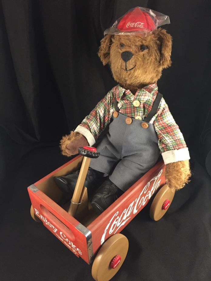 FRANKLIN MINT COCA COLA CUBBY BEAR WAGON DELIVERY w CAP BRADFORD EXCHANGE