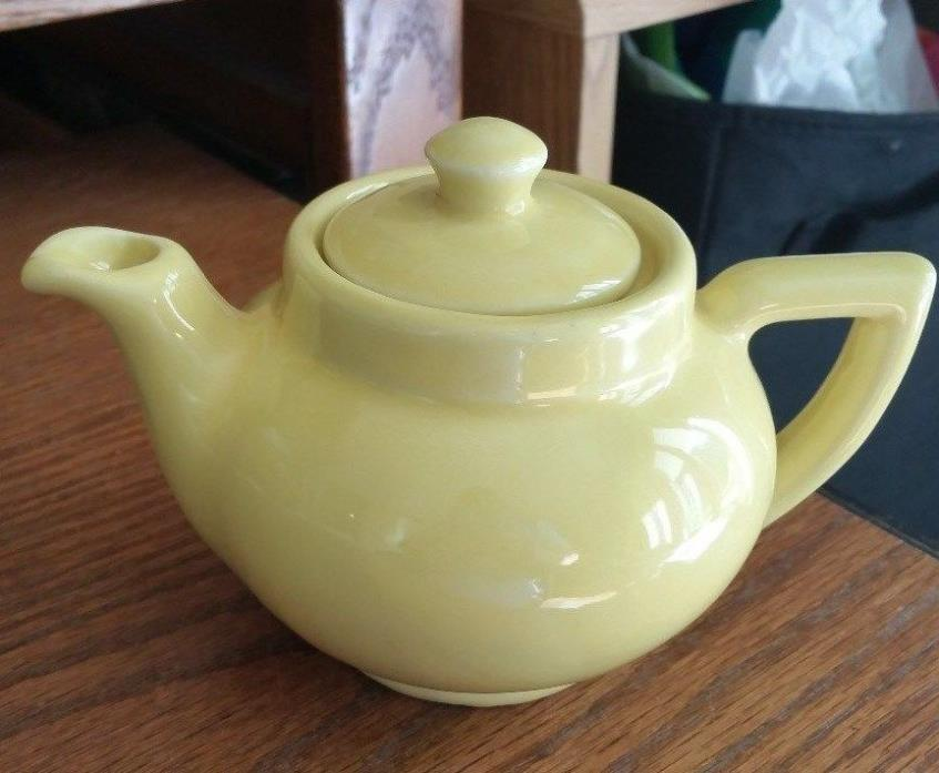 Vintage Small Yellow Ceramic Teapot Marked USA 10 - Shawnee?