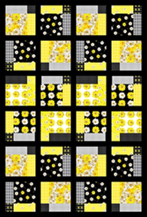 Framed Daisies Easy Quilt KIT Modern Floral Black Yellow Cotton Quilting Fabric