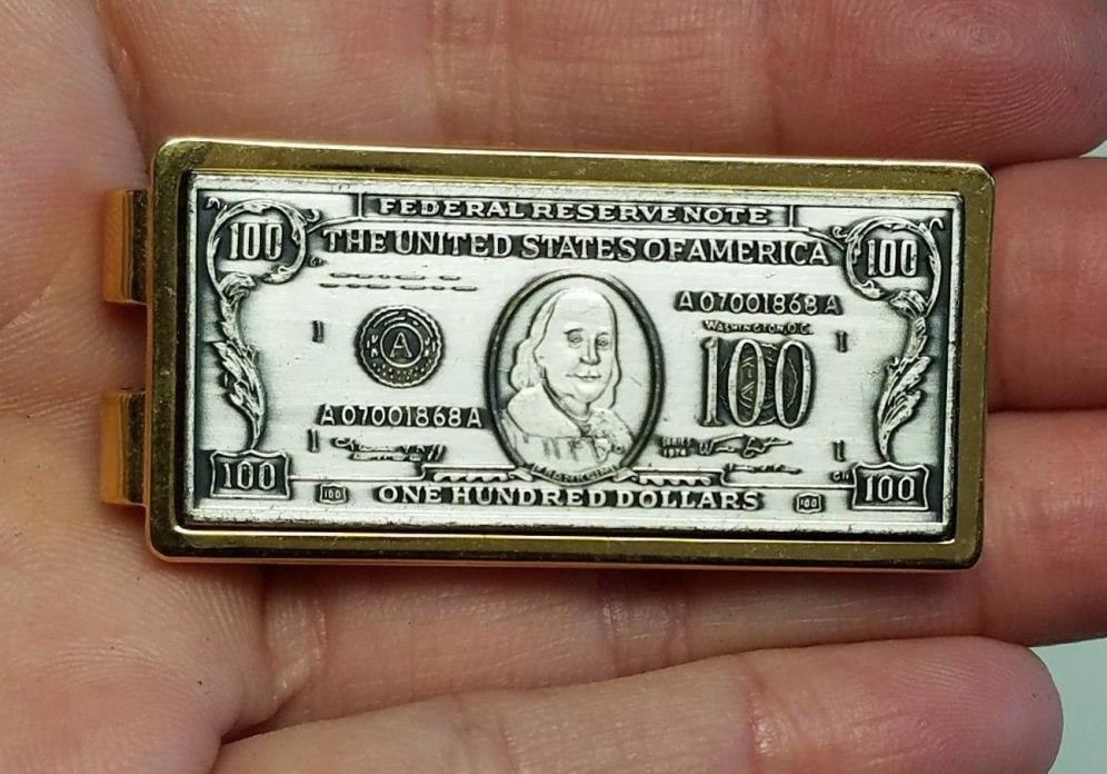 1962 ANSON vtg BEN FRANKLIN $100 Dollar BILL money clip holder MINT CONDITION