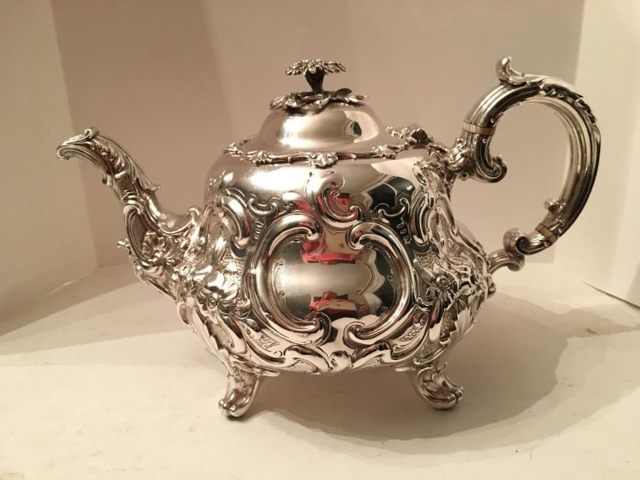 Antique Victorian Sterling Silver Handchased Florals Teapot E.J.W.Barnard 1844