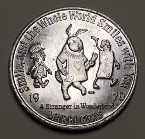 1970 Stranger In Wonderland Mardi Gras Doubloon Metairie Louisiana Alice / Bull