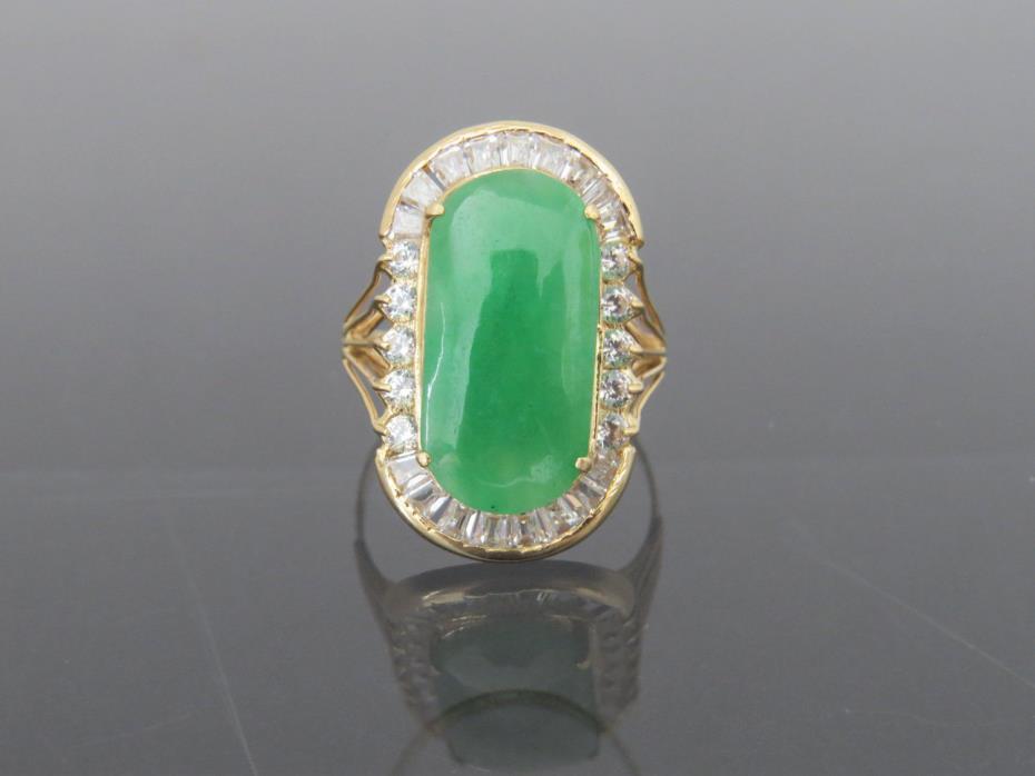 Vintage 18K Solid YG Natural Green Jadeite Jade & White Topaz Saddle Ring Sz 7