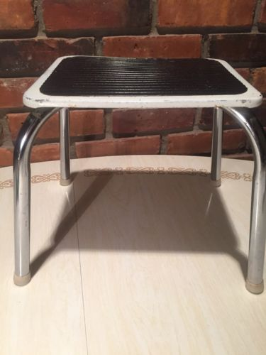 Vintage Step Stool ~ Metal Chrome ~ White Black